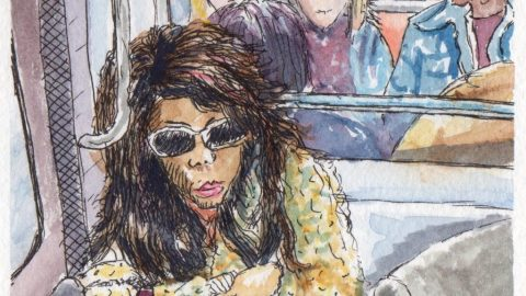 On the Paris Metro Watercolor Sketch