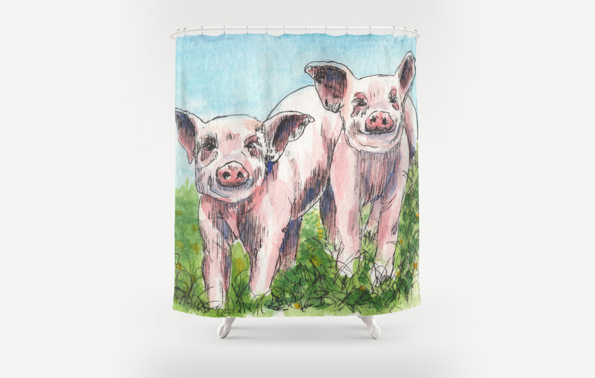 Pigs On A Shower Curtain