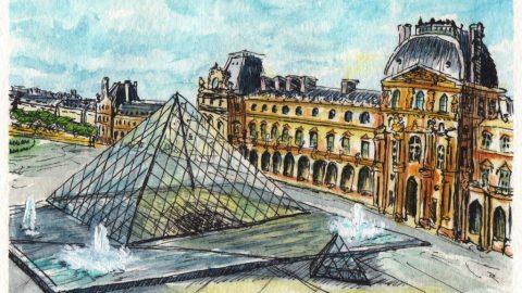 Musée du Louvre Watercolor Painting