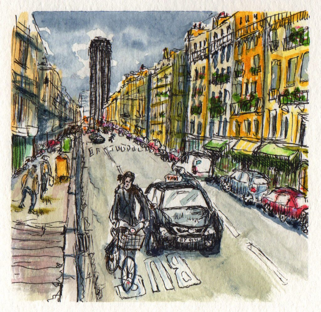 Montparnasse, Paris Watercolor Painting Aquarelle