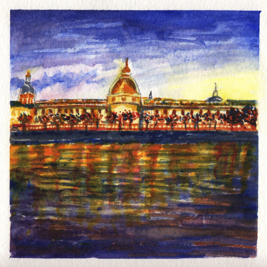 Night Falling On Lyon France Watercolor Doodlewash