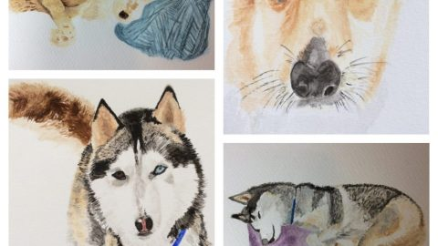 Watercolor Dogs by Patricia R.