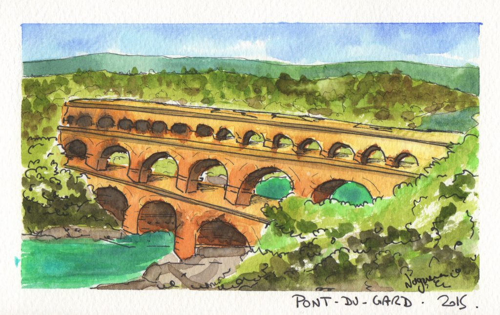 Pont-du-Gard Watercolor Painting by @Phinomet
