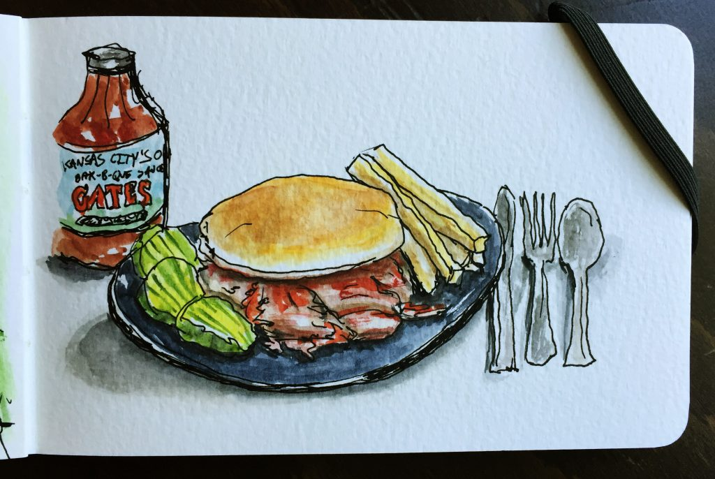 Gates Bar-B-Q Watercolor Doodlewash