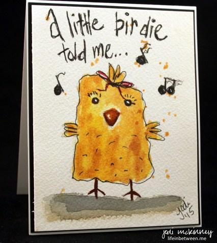 Little Birdie Doodlewash Card by Jodi McKinney