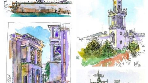 Watercolor Urban Sketching by Sergei Merkulov
