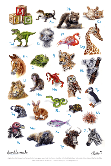 Children's ABC Animal Poster by Charlie O'Shields