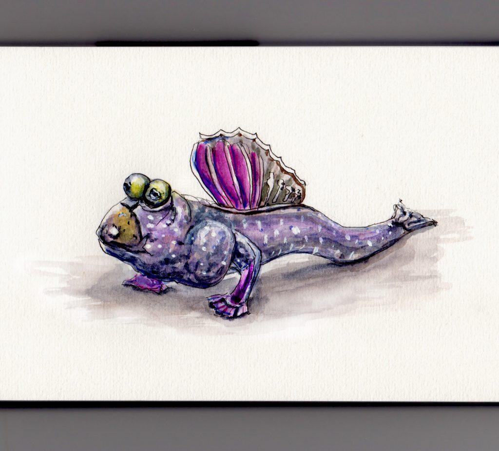 Mudskipper Doodlewash - pink fin Japanese fish amphibian watercolor