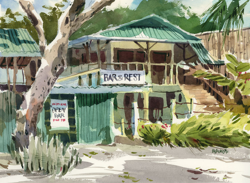 Bar & Rest by Shari Blaukopf - Watercolor painting and urban sketching of buildings and trees - Doodlewash