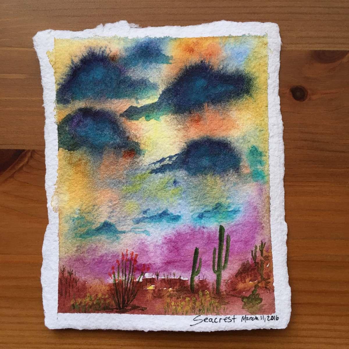 Desert painting doodlewash by Jessica Seacrest