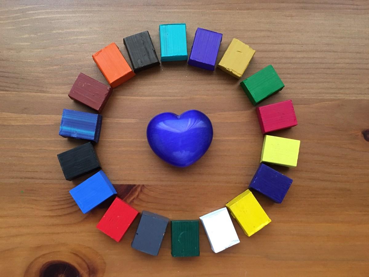 Grace Art watercolor paint cube mandala with heart