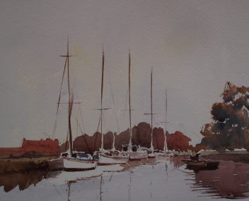 Doodlewash by John Haywood - sailing boats on water in watercolor landscape painting