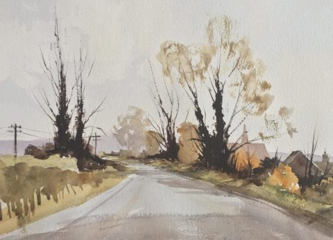 Doodlewash by John Haywood - landscape with trees and road watercolor painting