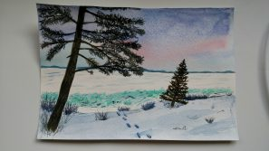 Doodlewash by Rob Nopola winter landscape with snow and trees in watercolor