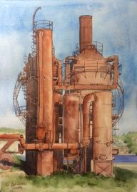 Doodlewash by Jane Blundell - The Gas Works, Seattle, watercolour and brown ink in A4 sketchbook
