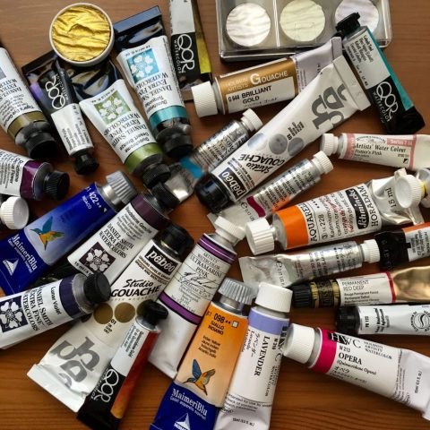 Supplies- many paint tubes of different brands