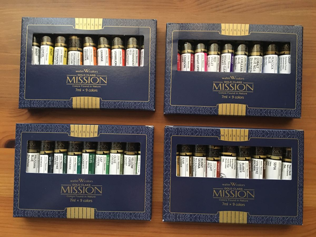 Mission gold 36 tube set in 4 boxes - watercolor paint