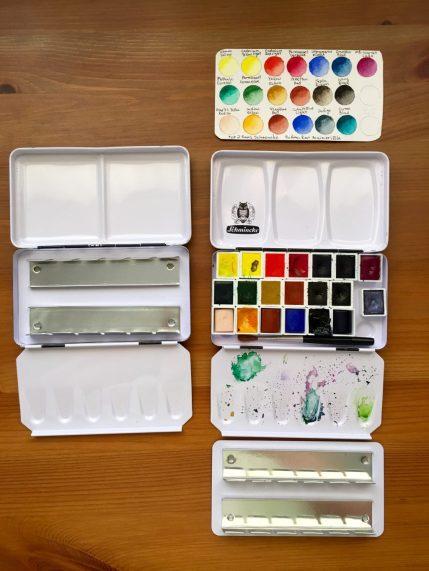 Inside of Schmincke and generic watercolor palettes, watercolor pans and watercolour paint swatch