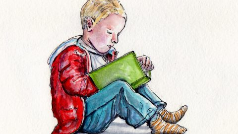 National Tell A Story Day Doodlewash - watercolor sketch of young child in red jacket and jeans reading a book