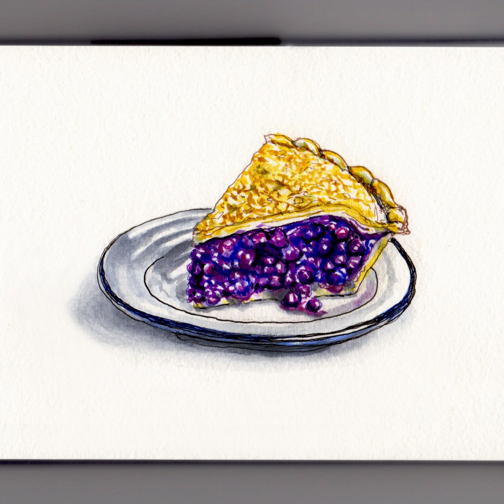 National Blueberry Pie Day Doodlewash and watercolor sketch of a slice of blueberry pie on a plate with white background