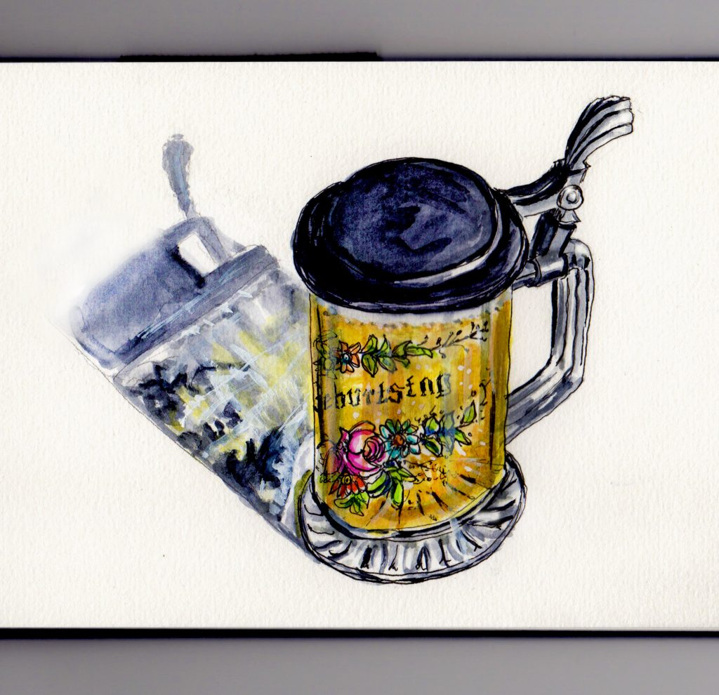National Beer Day - Doodlewash watercolor sketch of German glass beer stein