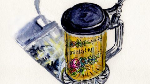 National Beer Day - Doodlewash watercolor sketch of German glass beer stein