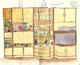 Doodlewash by Nadya Levitova - watercolor sketch of living room entertainment center, illustration