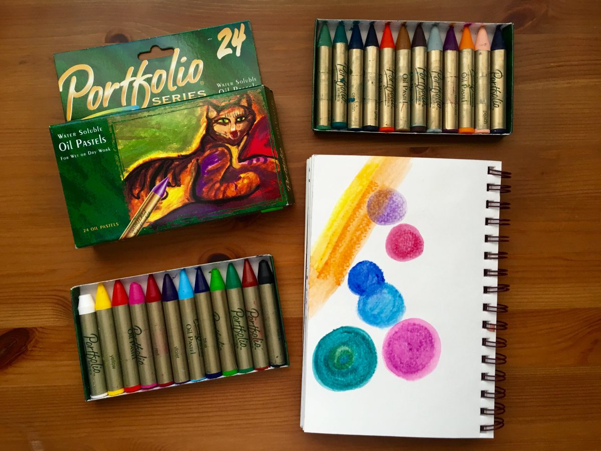 Crayola Portfolio water soluble oil pastel with circular example