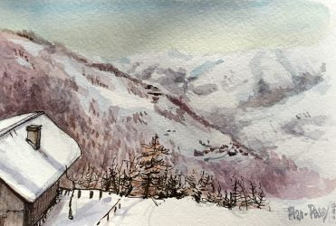 Doodlewash and watercolor sketch of house on snowy mountain in France by Tazab