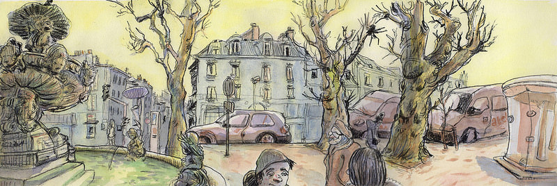 Doodlewash and watercolor sketch of park, cars and houses in France by Tazab