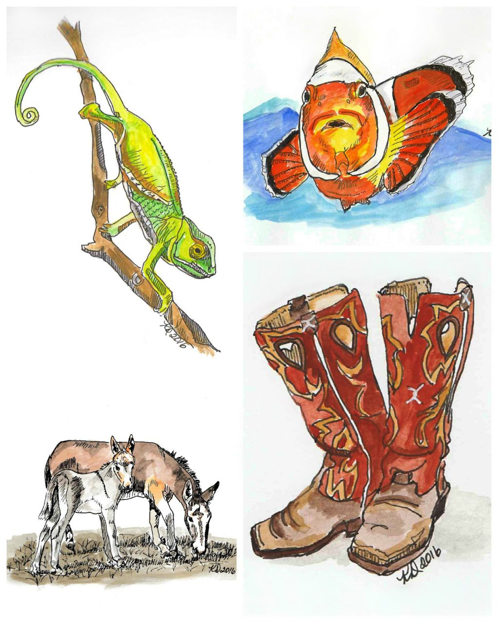 Doodlewash and watercolor sketches by KD Huff of chameleon, goldfish, horses, and cowboy boots