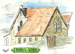 By Hannah Ridout - Doodlewash and watercolor of Emmaus School