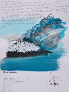 Doodlewash of Pavlof Volcano in watercolor by Jessica Hay