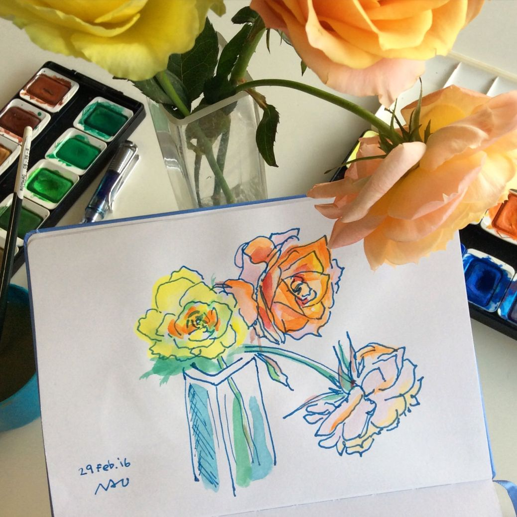 Doodlewash by Naoko Ebihara - watercolor sketch and painting of roses