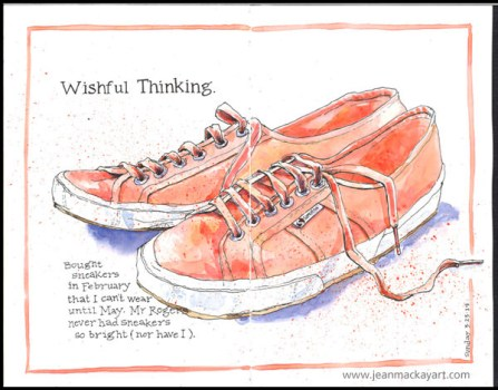 Doodlewashes by Jean Mackay - watercolor sketches of a pair of pink sneakers