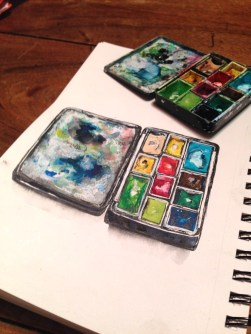 Doodlewash and watercolor sketch by Magny Tjelta of palette of watercolor paints