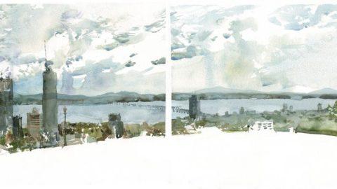 Belvedere Dyptich by Marc Taro Holmes - Doodlewash, Urban Sketch of city skyline in watercolor