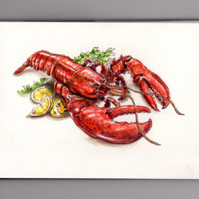 Doodlewash of cooked red lobster with garnish parsley and lemons