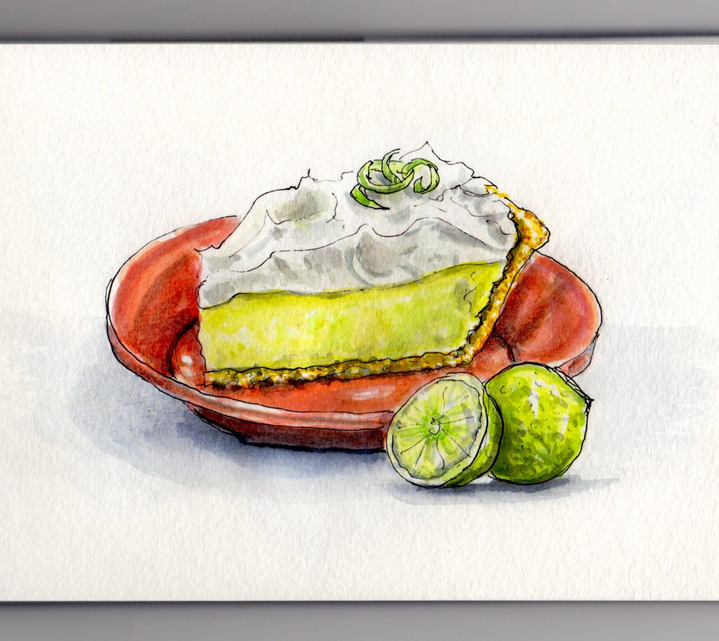 Creamy Key Lime Pie Doodlewash watercolor urban sketch of with key limes and red orange plate