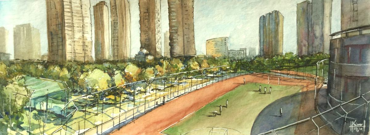 Doodlewash and watercolor sketch by Benny Kharismana of Changchun cityscape urban sketch