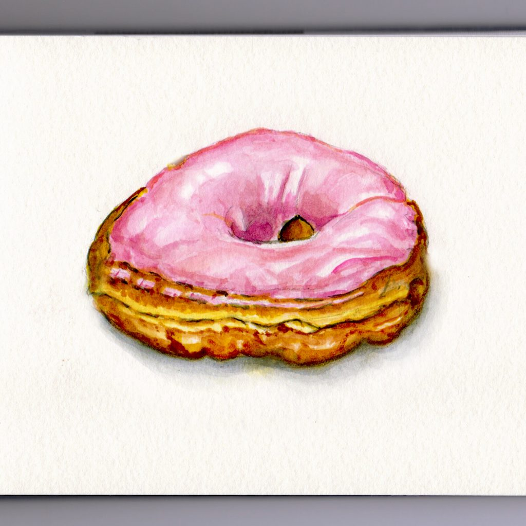 Pink Glazed Donut Doodlewash and watercolor sketch dessert frosting