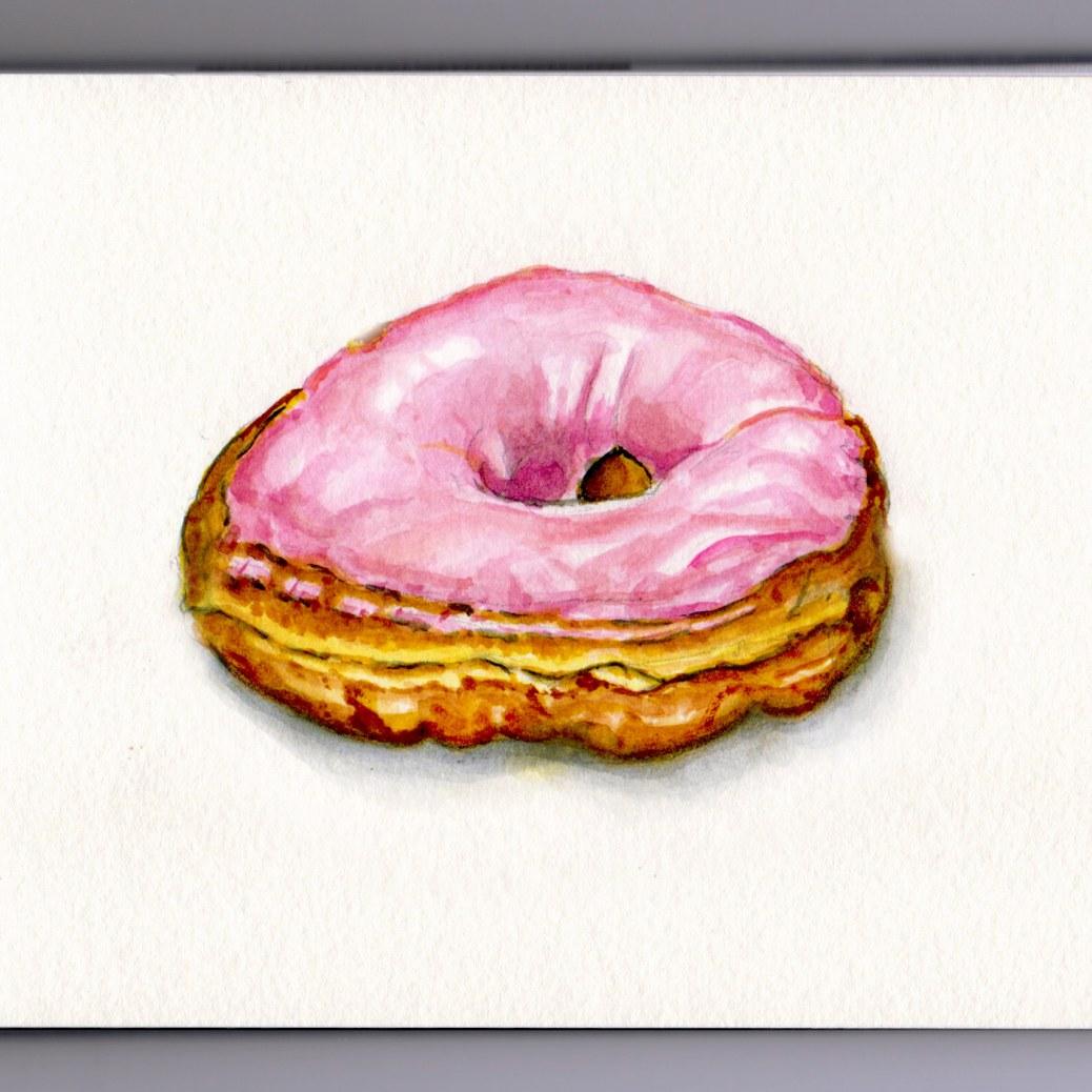 Pink Glazed Donut Doodlewash and watercolor sketch dessert frosting