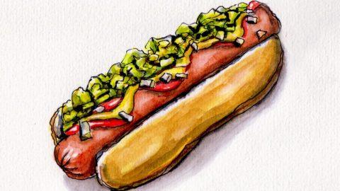 American Hot Dog with mustard ketchup and relish on bun Doodlewash and watercolor urban sketch