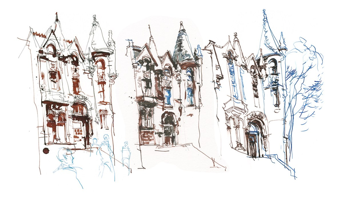 Three Times Fast Urban Sketching Exercise - Step 1 by Marc Taro Holmes