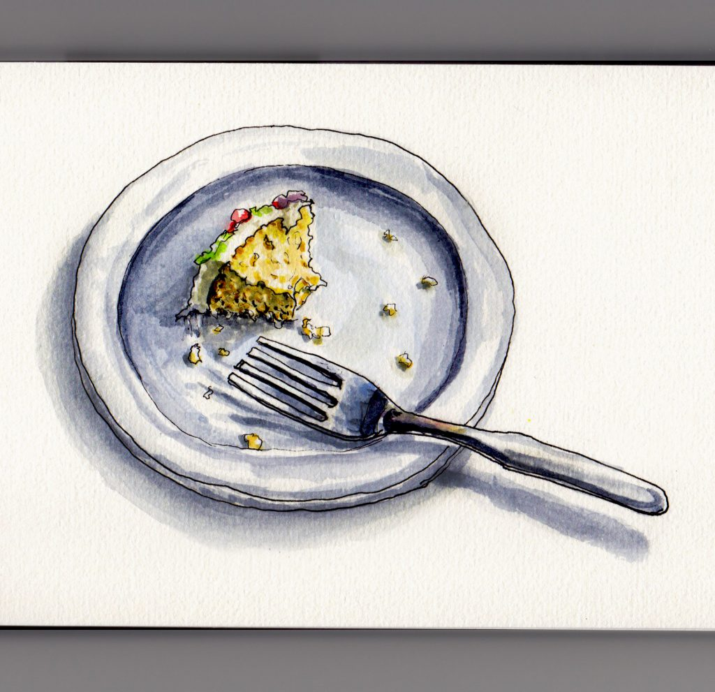 Last Little Bite of Yellow Cake with Icing and fork on a plate doodlewash and watercolor sketch