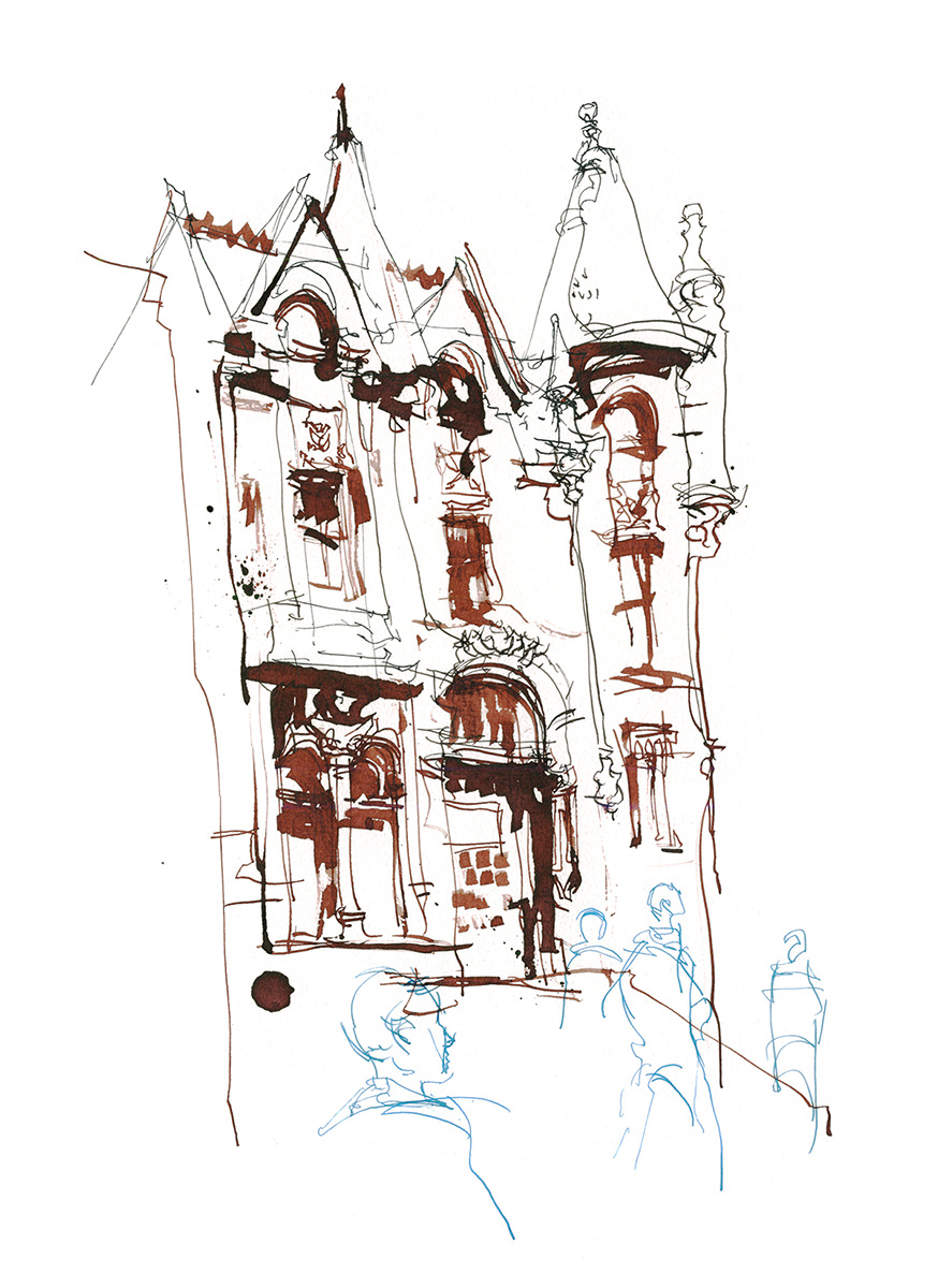 Three Times Fast Urban Sketching Exercise - Step 2 by Marc Taro Holmes