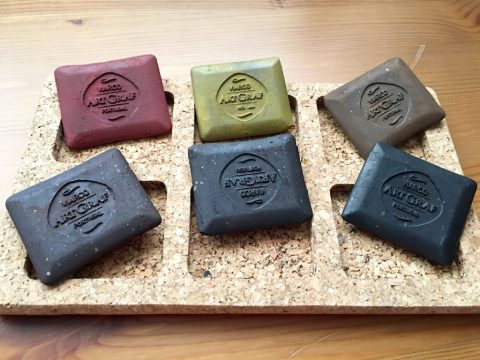 ArtGraf Tailor Chalks, which comes in six different colors- Sanguine, Ochre, Sepia, Brown, Dark Brown and Carbon Black.