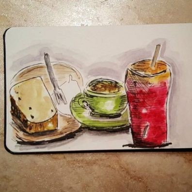 Aggie Lim - Doodlewash of lunch and drinks