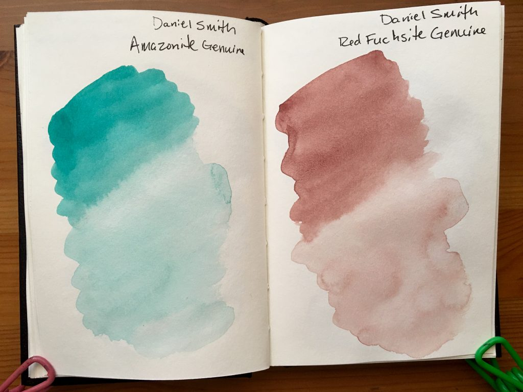 Daniel Smith PrimaTek watercolors swatches in a stillmand and birn gamma series journal Amazonite Genuine and Red Fuschsite Genuine