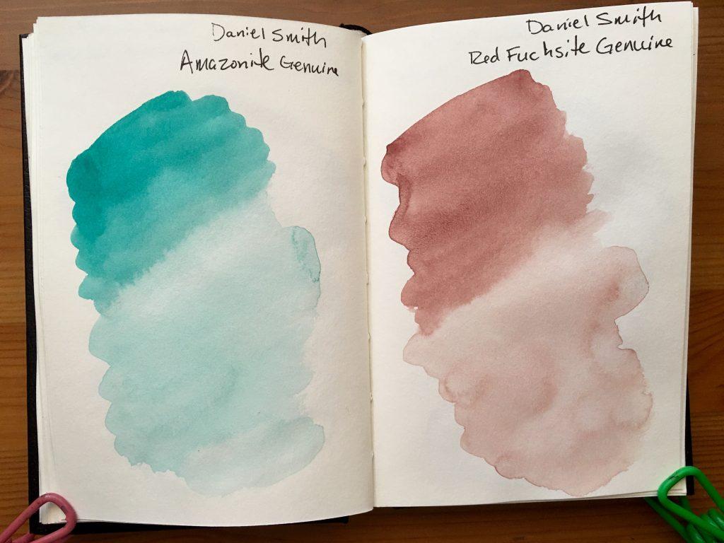 Daniel Smith PrimaTek watercolors swatches in a stillmand and birn gamma series journal Amazonite Genuine and Red Fuschsite Genuine
